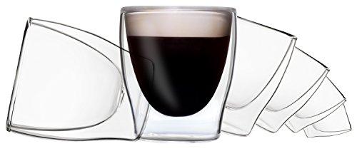 DUOS 6X 80ml doppelwandiges Gläser-Set mit Schwebe-Effekt, Espressogläser,Tee