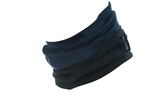 Hilltop Polar Multifunktionstuch mit Fleece, Motorrad Halstuch/Schlauchschal/Ski Gesichtsmaske/TOP Farben, Farbe Polar Tuch:dunkel blau mit schwarzem Fleece