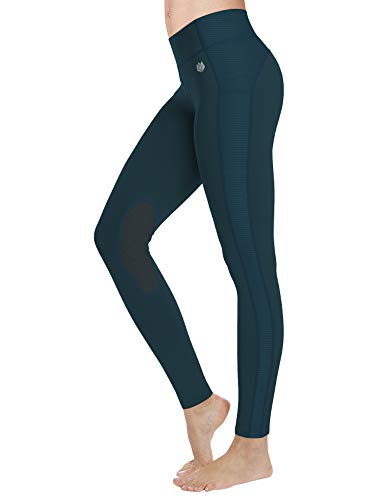 FitsT4 Reithose REIT-Leggings für Damen Mädchen mit Kniebesatz und Innentasche - Atmungsaktiv 4-Wege-Stretch - für Reitschule Reitsport - in Schwarz, Blau, Grau, Braun oder Beige - Größe xs – XL