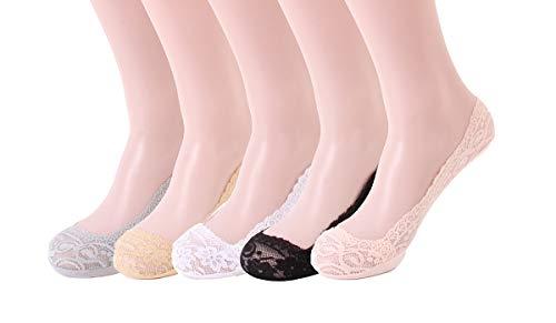 Wangqing 5 Paar Damen Spitzen Füßlinge Socken No Show Ballerina invisible Socken Unsichtbare Socken mit Rutschfest Silikon Baumwolle