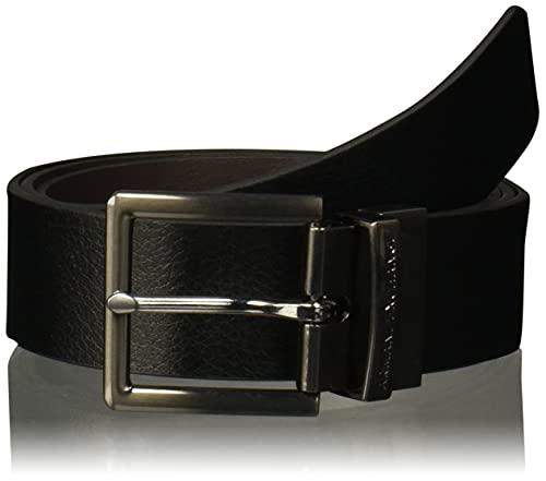 AX Armani Exchange mens Skinny Leather Belt, Black/Brown Black/Brown, 28 US