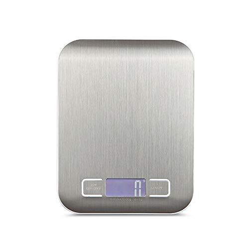 Jkckha Escala de pesaje digital 10kg / 5kg Acero inoxidable Escala de cocina dieta dieta balance postal herramienta de medición LCD básculas electrónicas (Color : Metal white, Load Bearing : 5Kg)