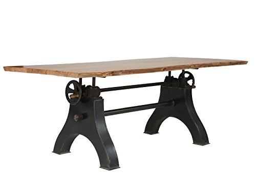 massivum höhenverstellbarer Esstisch Cataleya 200x75x100 cm aus Akzien-Holz massiv hell lackiert und Gestell aus Eisen schwarz lackiert