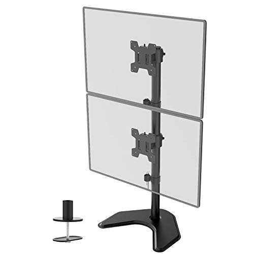 WALI Dual Monitor Desk Stand Free Standing LCD LED Flat Screen TV Holds in Vertical Position 2...