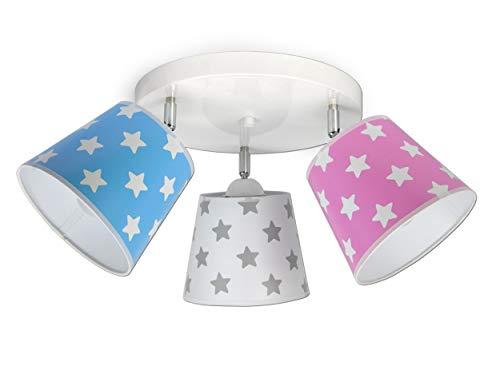 FKL Deckenleuchte Deckenlampe Kinderleuchte Kinderlampe Leuchte Lampe Mehrfarbig Stern Metall 230V 299 300 G3 (300-G3 Sternchen, Rosa-Weiß-Blau)
