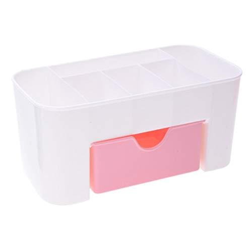 Easyeeasy Cajón de almacenamiento de joyas cosméticas Caja de cepillo de maquillaje de plástico duradero Soporte de lápiz labial de control remoto de oficina en casa