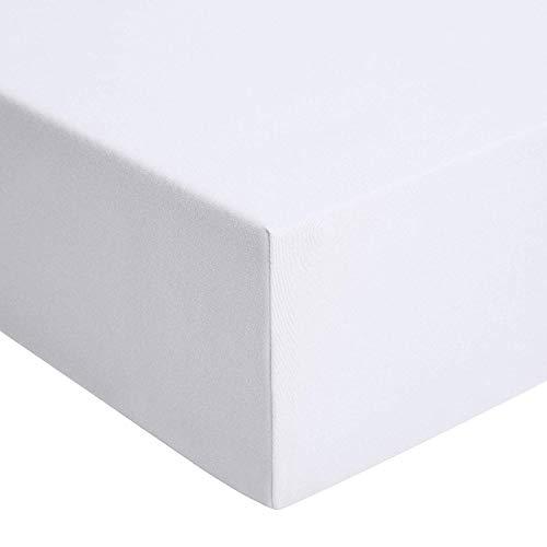 AmazonBasics - Spannbetttuch, Jersey, weiß - 140 x 200 cm