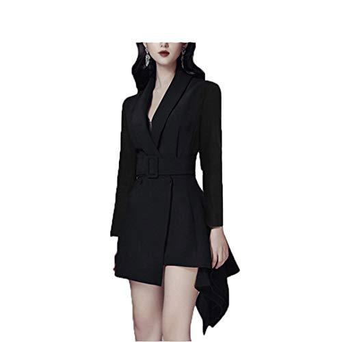 wkd-thvb Vestido de doble botonadura con cinturón para mujer Slim Party manga larga damas trabajo vestidos cortos