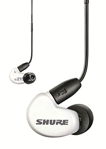 Shure SE215 Sound Isolating Earphones with 3.5mm Cable, Remote and Mic, Special Edition White