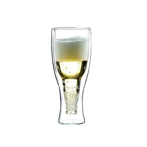 TEETLE Cervezas Creativas de Cerveza, Material de Vidrio Resistente al Calor, Cerveza de Vidrio de Doble Capa Gruesa Stein, Puede Contener el Jugo de Agua de té Milk 35 0ML 12OZ