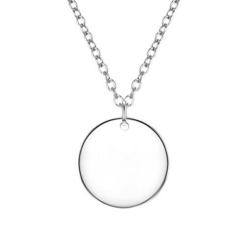 Glanzstücke München Damen-Kette mit Anhänger Medaillon Sterling Silber rhodiniert zum Gravieren 40 + 5 cm - Halskette für Gravur in Silberfarben