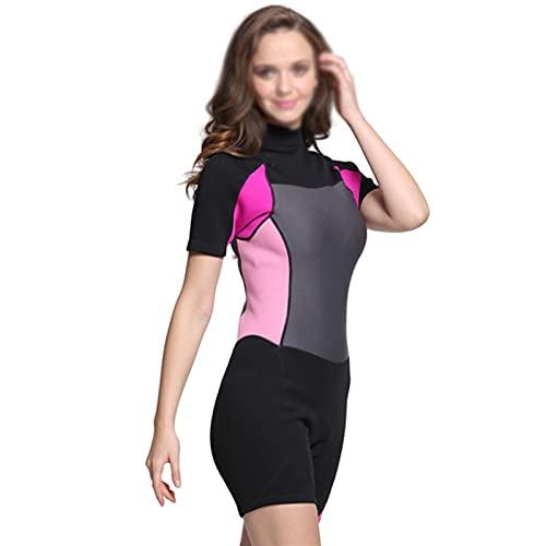 MHSHKS Trajes de neopreno de 2 mm para hombre y mujer, trajes de buceo de buceo, manga de tiro para surf, natación, deportes acuáticos (color: rosa, tamaño: M)