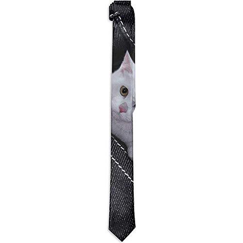 Heren Tie Ripped Jeans Witte Kat Mode Zijde Skinny Ties Unieke Gift Neckties