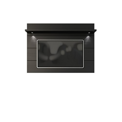 "Manhattan Comfort Cabrini 1.8 Panel Collection Floating Wall TV Panel TV Wall Mount with Shelf, 71.25"" L x 8.46"" D x 94.35"" H, Black"