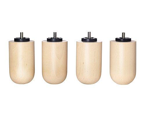 Ikea Batsfjord - Set di 4 alzatine per letto in legno naturale, facili da installare, M8 | 8 mm