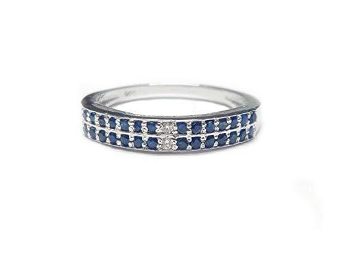 Silver Diamond Blue Sapphire Ring Diamond Engagement Ring Blue Sapphire Engaement Ring 1.5 mm Round Natural Diamond & Blue Sapphire Band (9.5)