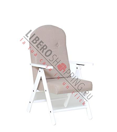 Poltrona Sedia Sdraio Amalfi in Legno RECLINABILE 4 Posizioni Cuscino Imbottito H 105 CM Soggiorno Cucina Salone Divano Colore Laccato Bianco