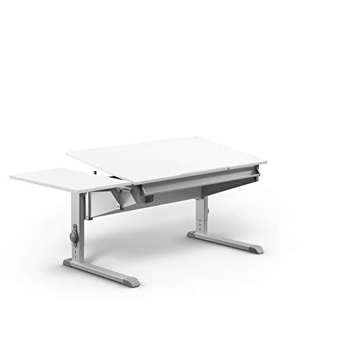 moll Sprinter Kinderschreibtisch mit Side Top, Holzwerkstoff, Weiß, 117,20cm × 71cm × 53-82cm