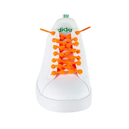 クールノット (COOLKNOT) 結ばなくてもいい 靴ひも ネオンオレンジ Mサイズ