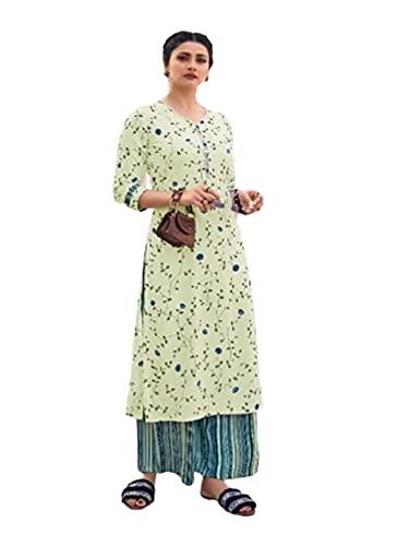 IVORY indio impreso rayón cosido Kurti casual niñas moda mujer Kurta Plazzo Set 6384 - - XXL