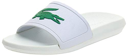 Lacoste Women's Croco Slide Sandal, White/Green, 9 M US