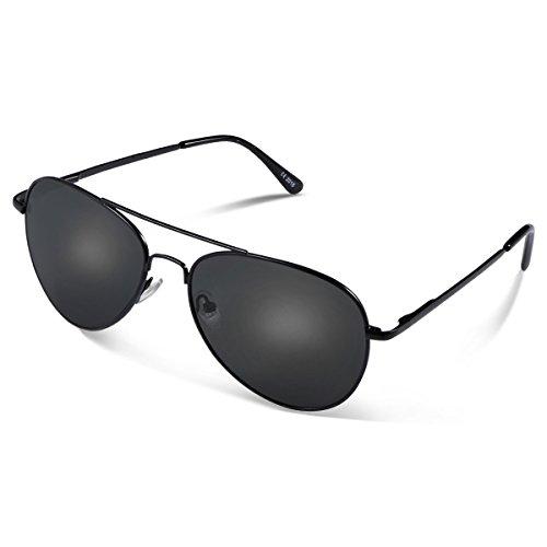 Duduma Lente Antirreflejante Completo UV400 Gafas de Sol con Diseño de Moda Retro Para Hombre y Para Mujer. (marco negro con lente negro)