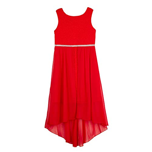 Amy Byer Girls' High-Low Walk Through Party Dress, New Winter red, 7