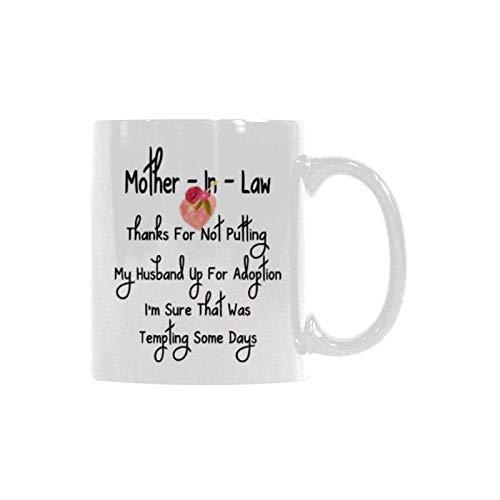 N\A Taza Divertida del Regalo del día de la Madre, Suegra Gracias por no Poner a mi Esposo en adopción Regalos Divertidos para el Regalo de cumpleaños Taza de café Taza de té Blanco