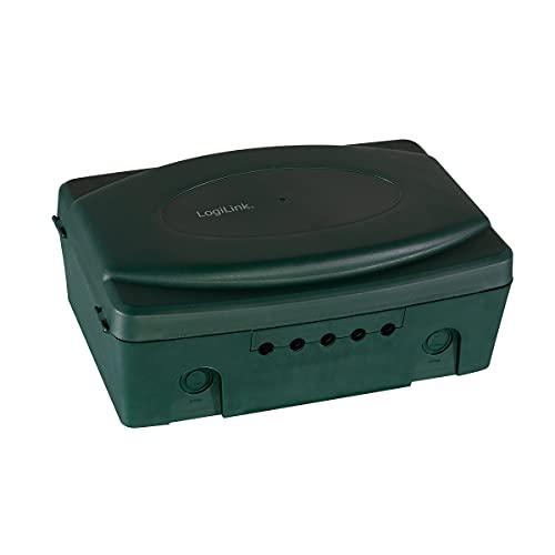 LogiLink LPS272 wetterfeste Elektronik Box für den Aussenbereich (Outdoor) in grün mit Staub und Spritzwasserschutz (IP54), 32x21x11.5cm