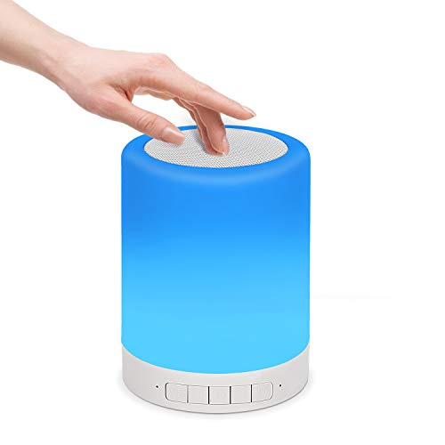 Bluetooth Speaker Lamp, Yeewarm Bedside Lamp with 3 Touch Dimmable Modes and 7 Colors Switch Night Light Portable Outdoor Camping Lantern, Gift for Women Men Teens Kids