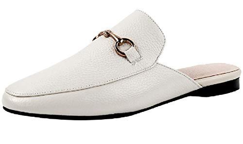 SimpleC Damen 6 cm Metall Horse-bit Kuhfell Slip On Mule Schuhe Einfache Rutschen BeigeEU 39