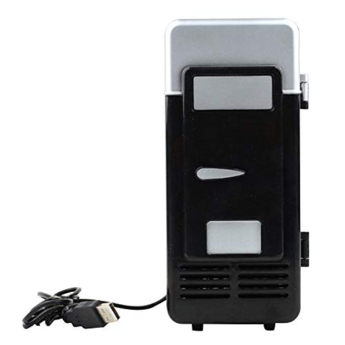 Mini-Gefrierschrank, Kleiner Kühlschrank, Mini-Kühlschrank, tragbare Icebox-USB-Mini-LED-Kühlschrank, Getränkedosen Kühler Warmer, Schwarz, Free Size