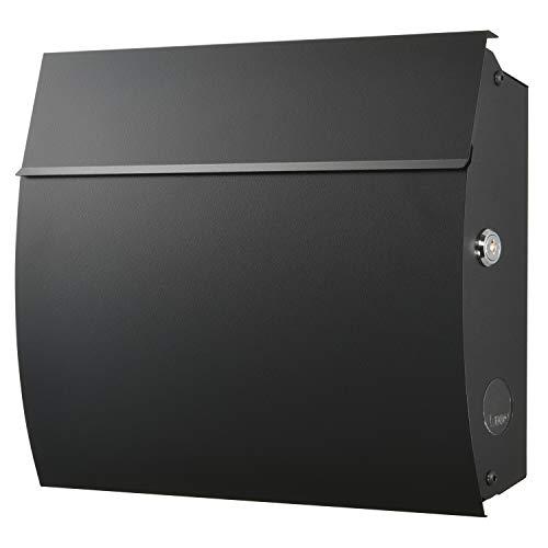 LEON (レオン) MB4801 ブラックエディション 郵便ポスト 壁掛けタイプ ステンレス製 鍵付き おしゃれ 大型 ポスト 郵便受け ブラック