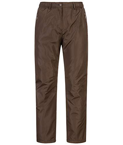 Baty Damen Thermohose mit Dehnbund Winterhose warm gefüttert ID609, Größe:XXL, Farbe:Braun