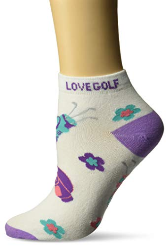 K. Bell Women s Sports and Outdoors Novelty No Show Low Cut Socks, I Love Golf (Purple), Shoe Size: 4-10