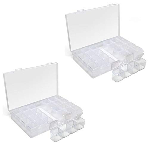 iGadgitz Home U7113 Diamond Painting Box (28 Töpfe) Stickarbeit Diamond Painting Zubehör box Perlen -Transparent -2 Schachteln