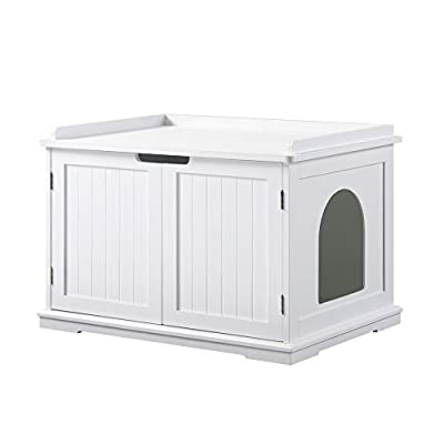 unipaws Cat Litter Box Enclosure, Litter Tray Cover, Washroom Storage Bench, Indoor Cat House, Sturdy Wooden Structure Furniture, Easy Assembly, Fit Most of Litter Box, White