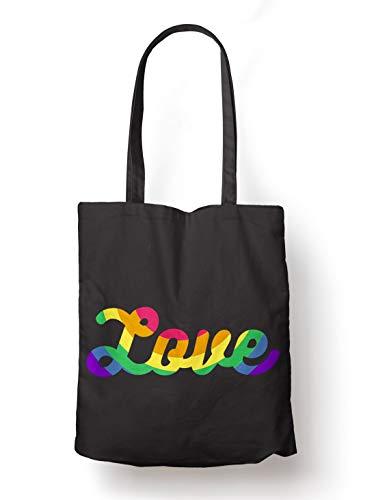 BLAK TEE All We Need Is Rainbow Love Organic Cotton Reusable Shopping Bag Black