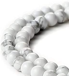 BEADNOVA Natural White Howlite Beads Natural Crystal Beads Stone Gemstone Round Loose Energy Healing Beads with Free ...