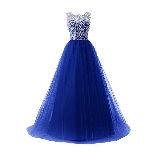 yhfshop Vestido de Fiesta de Dama de,Vestido Largo Banquete de Encaje Temperamento-Royal Blue_38,Mujeres Falda Larga de Cóctel Vestido de