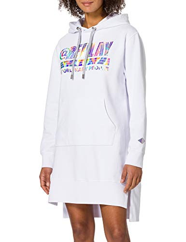 REPLAY W9683 Vestido, Blanco (001 White), L para Mujer
