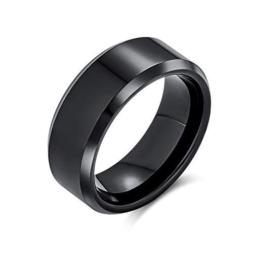 Bling Jewelry Simple Simple Biselado Borde Negro Parejas Titanium Anillo de la Banda de Boda para los Hombres para Las Mujeres Comodidad Ajuste 8MM