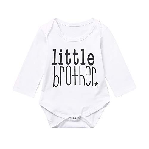 XshuaiRTE Ensemble de vêtements pour bébé avec inscription « Big Little Brother » - Blanc - Taille Unique