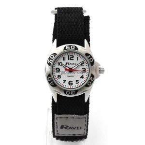 RAVEL Analoge Jungen-Armbanduhr mit schwarz-grauem Textilarmband und Klettverschluss R1507.29