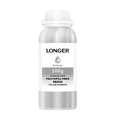 LONGER 3D Printer Resin LCD Light Curing Resin Standard Rapid Photopolymer Resin for DLP/LCD 3D Printing (Grey, 500g)