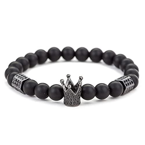 Pulsera de cuentas Stretch King Queen Crown Brazalete Tibetano Mala Bead Healing Crystal Gemstones Pulsera para hombres Mujer-A