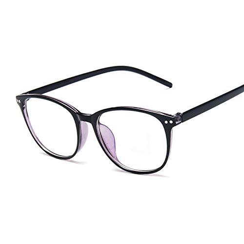 NJJX Gafas Con Remaches Vintage, Montura De Ojo De Gato, Miopía, Anteojos Ópticos, Gafas Antiazules, Cómodas, Ligeras, Transparentes, Negro, Azul