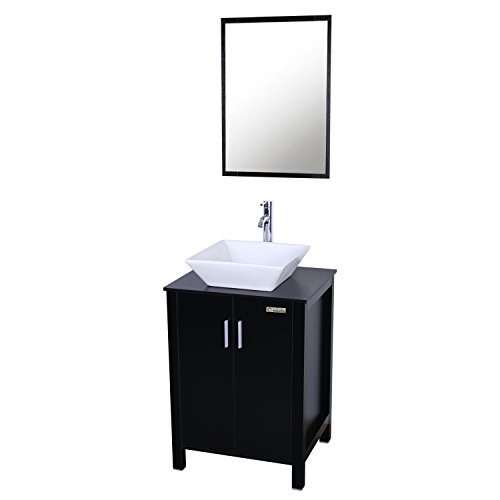 Eclife Fashion Design 24 inch Updates Modern Bathroom Vanity And Sink Combo White Square Ceramic Vessel Sink with Chrome Bathroom Solid Brass Faucet and Pop Up Drain Combo A7B4