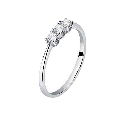 Live Diamond Women's 9k White Gold, Lab Grown Ecological Diamond Ring - LD030050