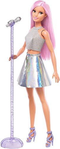 Barbie Carriere Pop Star con Microfono, Bambola Capelli Rosa e Abiti Argento, Giocattolo per bambini 3+ Anni, FXN98
